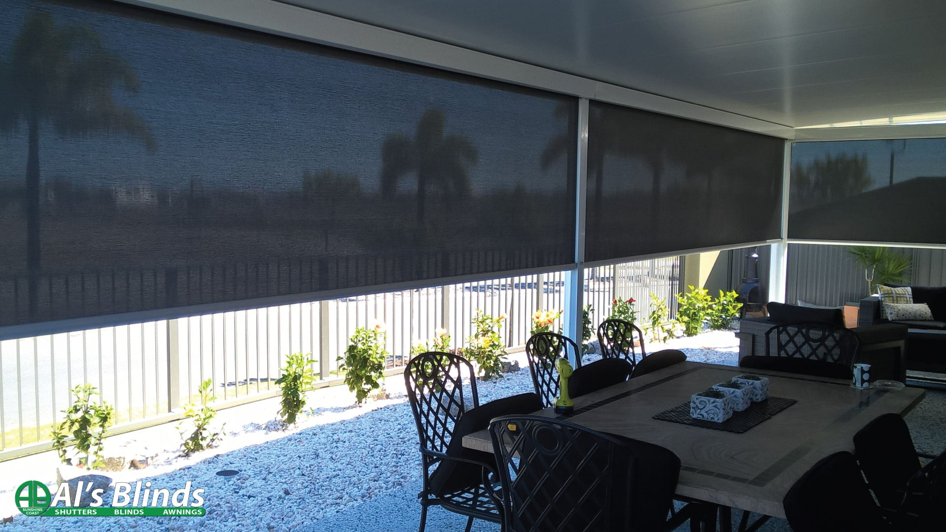 Side Channel Awnings with 95% Blockout Fabric