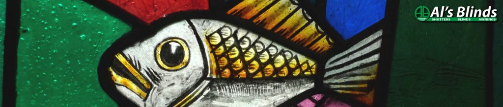 Window Blinds stained glass fish share image from Al's Blinds Sunshine Coast