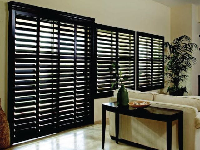 Basswood Timber Shutters in Black by Al's Blinds Sunshine Coast image